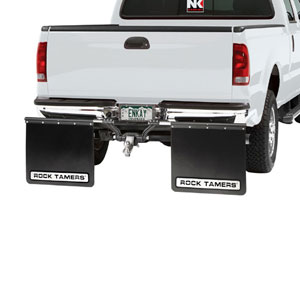 "MUD FLAPS - ROCK TAMER 2"" HUB MATTE BLACK/STAINLESS STEEL"