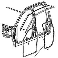 Dodge Ram Quad Cab Rear Door Seals - 55277293