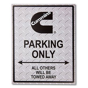 "SIGN - ""CUMMINS PARKING ONLY"" (DIAMOND PLATE LOOK)"