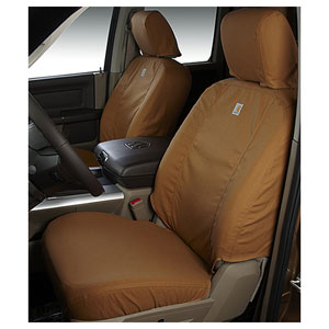 CARHARTT SEATSAVERS - FRONT- COVERCRAFT ('19-'20, 2500/3500, ALL CABS) 40/20/40 SEATS, W/ADJ HDRST, FOLD DOWN CONSOLE, SEAT AIRBAGS