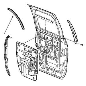 REAR DOOR B-PILLAR SEAL - DRIVER/PASSENGER, REAR - MOPAR ('03-'09, QUAD CAB)