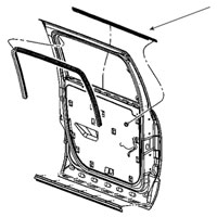 SIDE WINDOW BELTLINE OUTSIDE SEAL - DRIVER, REAR - MOPAR ('06-'09, MEGA CAB)