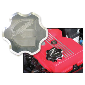 "BILLET ALUMINUM OIL CAP COVER, ""CUMMINS C""  ('98.5-'20)"