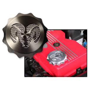 "BILLET ALUMINUM OIL CAP, ""RAMS HEAD""  ('98.5-'18)"