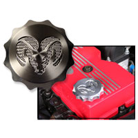 "BILLET ALUMINUM OIL CAP COVER, ""RAMS HEAD""  ('98.5-'20)"