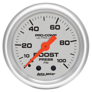 BOOST GAUGE,  100PSI - AUTOMETER - ULTRA-LITE SERIES