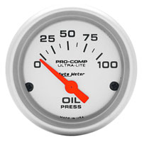 OIL PRESSURE GAUGE,  100PSI - AUTOMETER - ULTRA-LITE SERIES