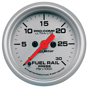 FUEL RAIL PRESSURE GAUGE,  30,000PSI - AUTOMETER - ULTRA-LITE SERIES ('07.5-'15, 6.7L)