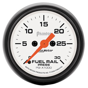 FUEL RAIL PRESSURE GAUGE,   30,000PSI - AUTOMETER - PHANTOM SERIES ('03-'07, 5.9L)