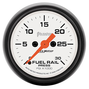 FUEL RAIL PRESSURE GAUGE,  30,000PSI - AUTOMETER - PHANTOM SERIES ('07.5-'18, 6.7L)
