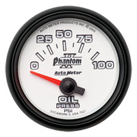 OIL PRESSURE GAUGE, 100PSI - AUTOMETER - PHANTOM II SERIES