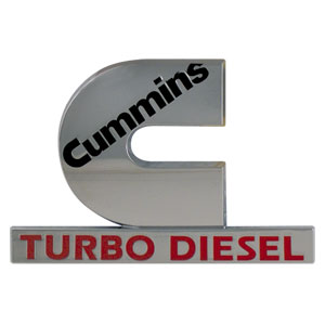 "EMBLEM - ""CUMMINS TURBO DIESEL"" ('03-'05,  2-3/8"" x 3-5/8"")"