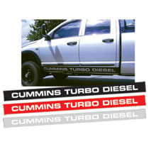 "DECAL - DOOR - ""CUMMINS TURBO DIESEL""  (85"" X 6"")"