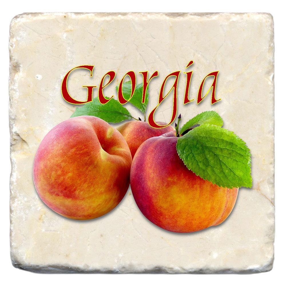 Georgia Peach Marble Coaster