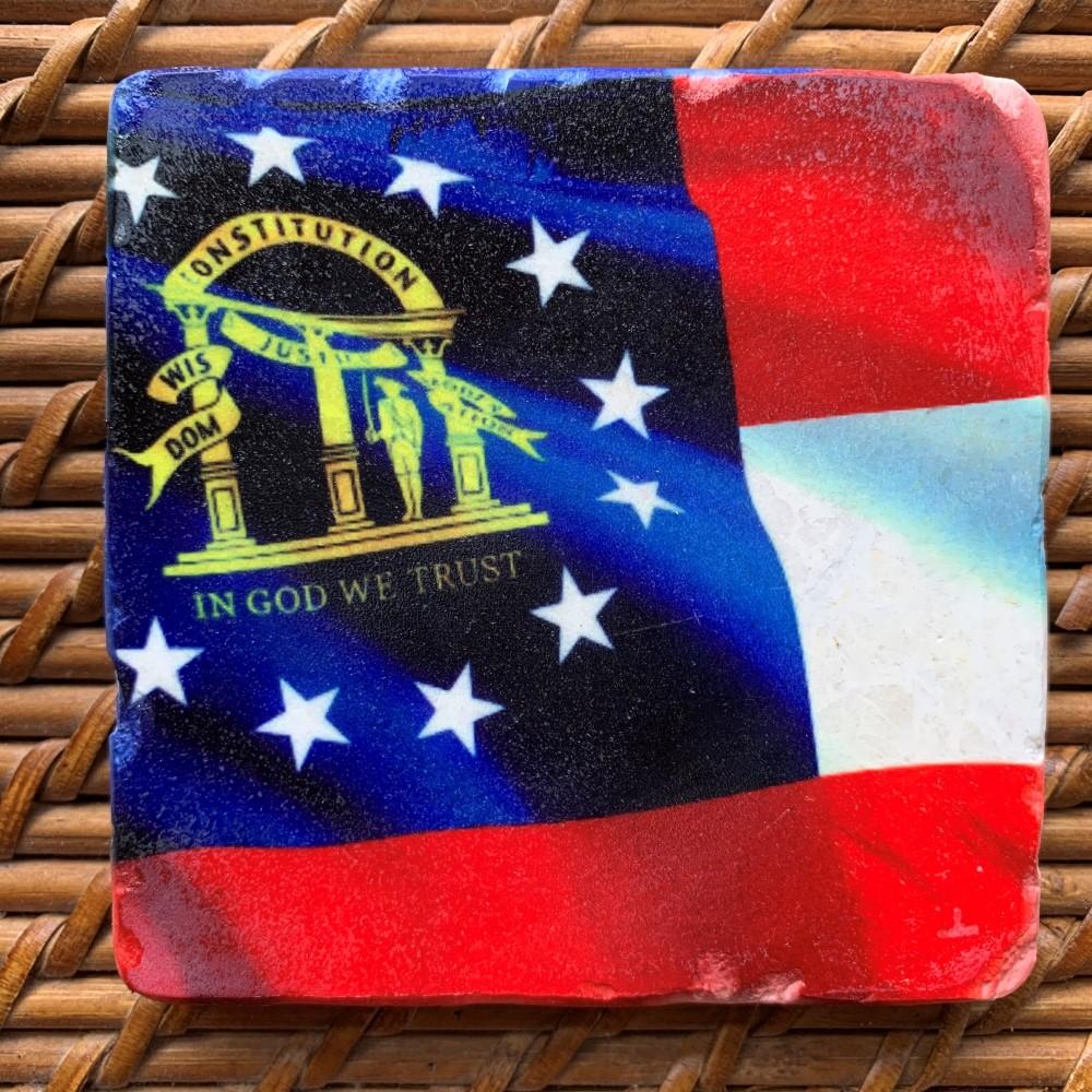 Georgia State Flag Marble Coaster