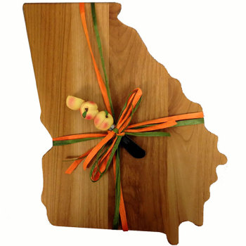 Georgia Shaped Cutting Board w/Peach Spreader