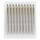 Parker Jotter Pack of 10 - Stainless Steel & Gold Trim Ballpoint Pen