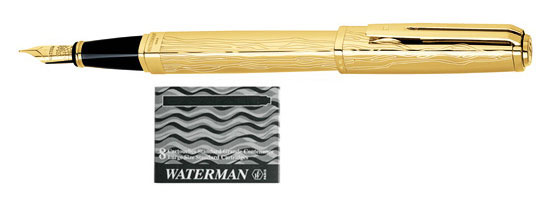 Waterman Exception The Marks of Time - 18 Kt Gold Vermeil Limited Edition With 8 Free Ink Cartridges Medium Point Fountain Pen
