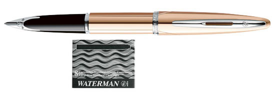 Waterman Carene Pink Gold Meridian With 8 Free Ink Cartridges Medium Point Fountain Pen