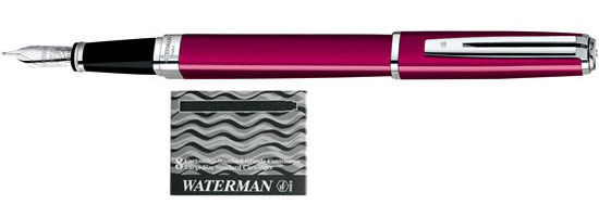 Waterman Exception Raspberry Slim ST With 8 Free Ink Cartridges Medium Point Fountain Pen