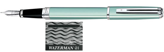 Waterman Exception Celadon Slim ST With 8 Free Ink Cartridges Medium Point Fountain Pen