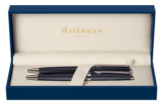 Waterman Hemisphere Essential Matte Black Chrome Trim Pen&Pencil Set