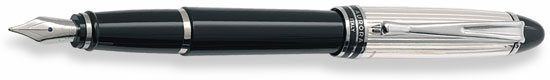 Aurora Ipsilon Sterling Silver Cap/Black Barrel Med. Pt. Fountain Pen