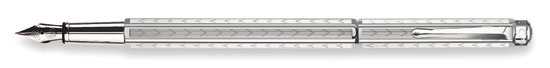 Caran D'ache Ecridor Chevron Silver Plated Fine Point Fountain Pen