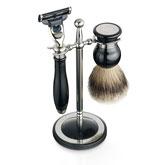 Dalvey Shaving Black Set & Stainless Steel Stand