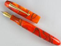 Edison Collier Persimmon Swirl 18K Gold Nib Broad Point Fountain Pen