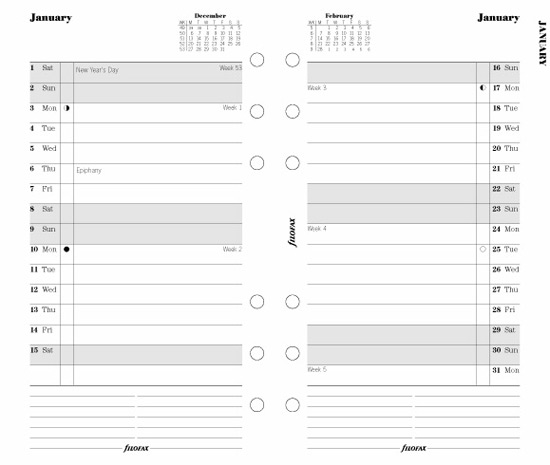 Filofax Calendar Refills Month on Two Pages 2016 Tabbed Personal Size ...