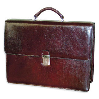 Jack Georges Sienna Cherry Briefcase  Triple Gusset Flap