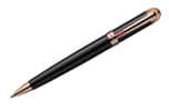Laban Macoron Black Lacquer w/ Pink Stone  Ballpoint Pen