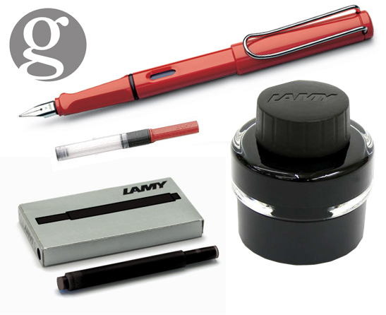 Lamy Safari Red Fountain Pen  Set