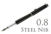 Nemosine Fission Jet Black 0.8mm Stub Nib  Fountain Pen