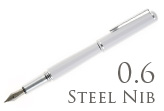 Nemosine Fission Ice White 0.6mm Stub Nib  Fountain Pen