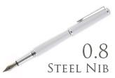 Nemosine Fission Ice White 0.8mm Stub Nib  Fountain Pen