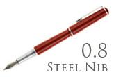 Nemosine Fission Classic Red 0.8mm Stub Nib  Fountain Pen