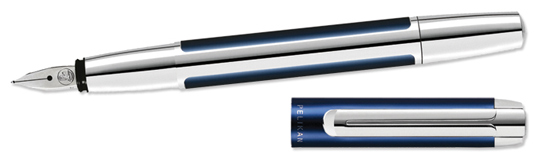 Pelikan Pura Series Blue & Silver Medium Point Fountain Pen