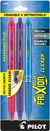 Pilot FriXion Clicker - 3 Pack of Pink, Purple & Turquoise  Gel Pen