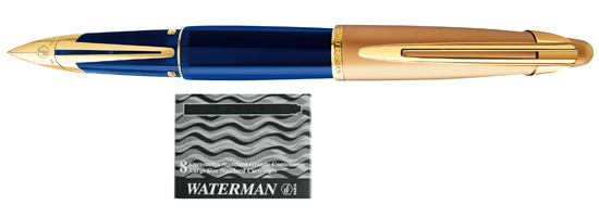 Waterman Edson Sapphire Blue With 8 Free Ink Cartridges F Fountain Pen