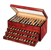 Venlo Triple Burlwood Collection 60 Pen  Case