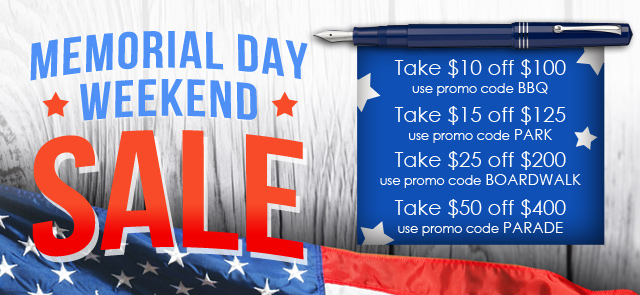 Enjoy your Memorial Day weekend by shopping for new pens with a special coupon discount