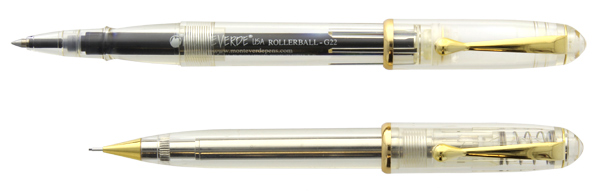Momento Demonstrator Gold Trim Rollerball and Pencil  Set