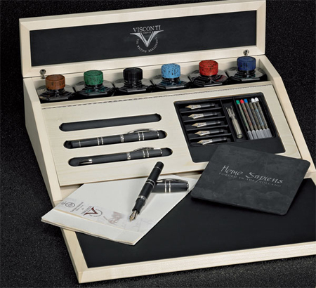 Visconti Homo Sapiens Volcanic Lava Black with 925 Silver Trim  Set
