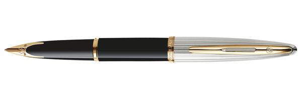 Waterman Carene Deluxe Black Lacquer/Silver With 8 Free Ink Cartridges Medium Point Fountain Pen