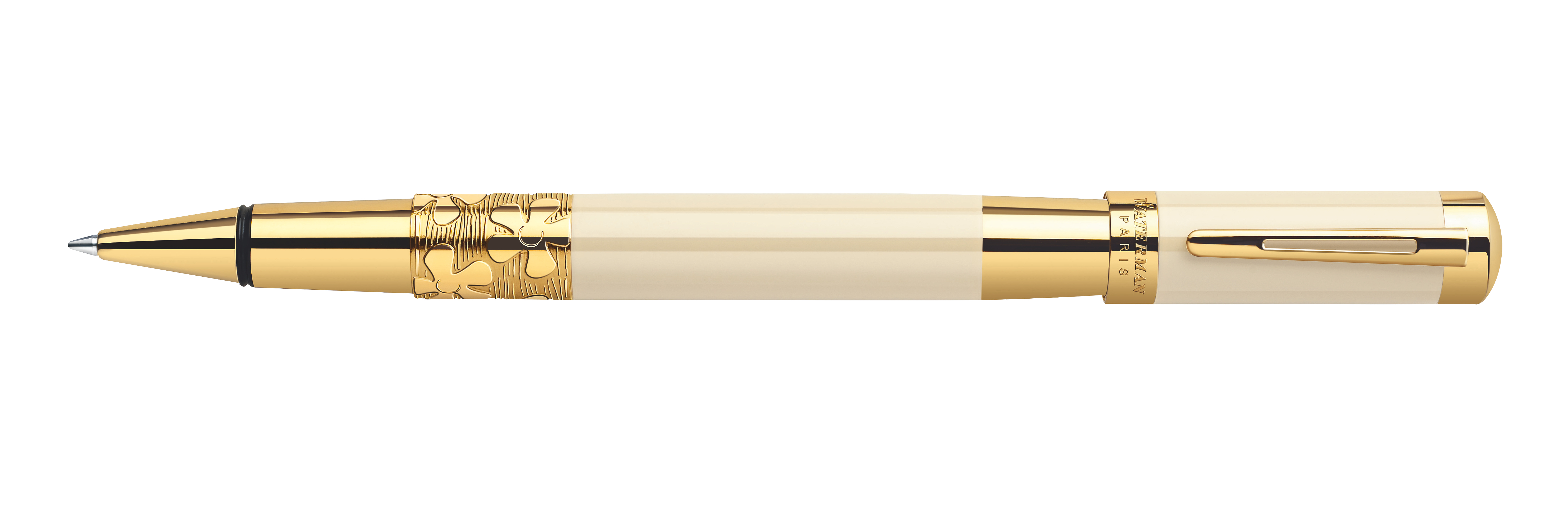 Waterman Elegance Ivory - Gold Trim With 1 Free Refill Rollerball Pen