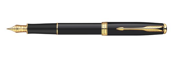 Parker Sonnet Original BLK Lacquer GT - Free Refill F Pt Fountain Pen