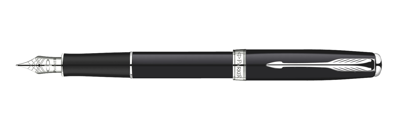 Parker Sonnet Original BLK Lacquer CT - Free Refill M Pt Fountain Pen