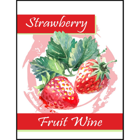 Strawberry Fruit Wine Self Adhesive Wine Labels, pkg of 30